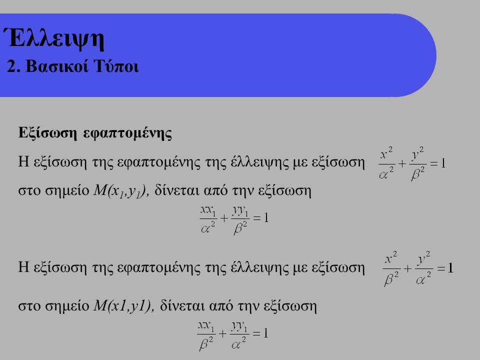 Έλλειψη 2. Βασικοί Τύποι Εξίσωση εφαπτομένης Η εξίσωση της εφαπτομένης της έλλειψης με εξίσωση στο σημείο Μ(x 1,y 1 ), δίνεται από την εξίσωση Η εξίσω