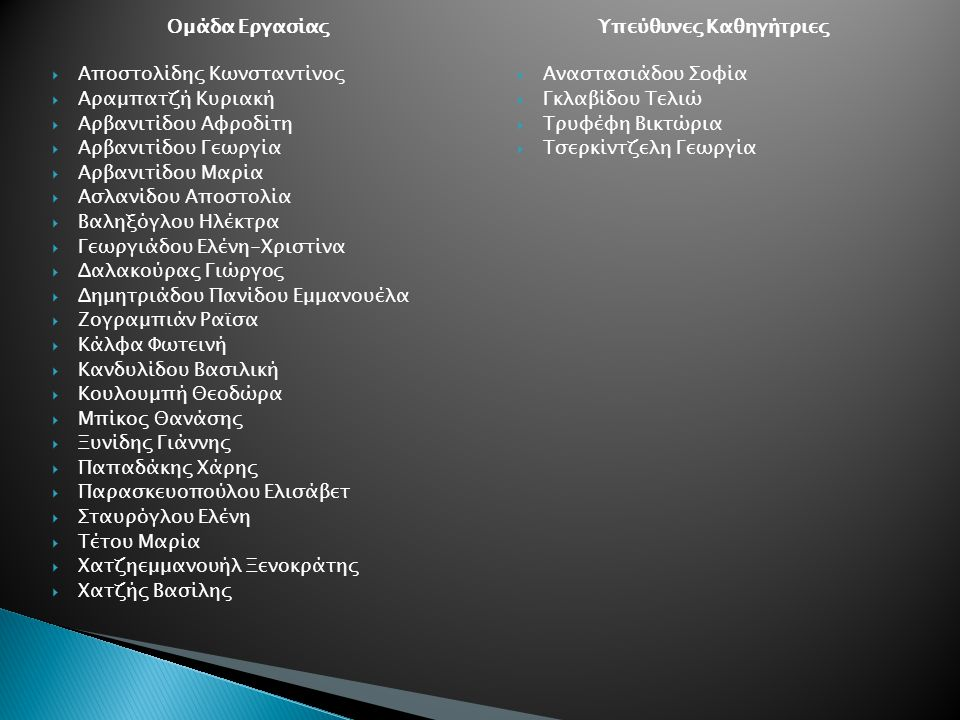 Ομάδα Εργασίας  Αποστολίδης Κωνσταντίνος  Αραμπατζή Κυριακή  Αρβανιτίδου Αφροδίτη  Αρβανιτίδου Γεωργία  Αρβανιτίδου Μαρία  Ασλανίδου Αποστολία  Βαληξόγλου Ηλέκτρα  Γεωργιάδου Ελένη-Χριστίνα  Δαλακούρας Γιώργος  Δημητριάδου Πανίδου Εμμανουέλα  Ζογραμπιάν Ραϊσα  Κάλφα Φωτεινή  Κανδυλίδου Βασιλική  Κουλουμπή Θεοδώρα  Μπίκος Θανάσης  Ξυνίδης Γιάννης  Παπαδάκης Χάρης  Παρασκευοπούλου Ελισάβετ  Σταυρόγλου Ελένη  Τέτου Μαρία  Χατζηεμμανουήλ Ξενοκράτης  Χατζής Βασίλης Υπεύθυνες Καθηγήτριες  Αναστασιάδου Σοφία  Γκλαβίδου Τελιώ  Τρυφέφη Βικτώρια  Τσερκίντζελη Γεωργία