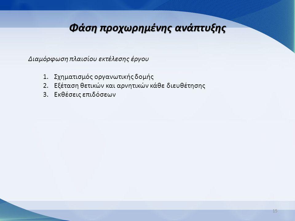 Φάση προχωρημένης ανάπτυξης 15 Διαμόρφωση πλαισίου εκτέλεσης έργου 1.Σχηματισμός οργανωτικής δομής 2.Εξέταση θετικών και αρνητικών κάθε διευθέτησης 3.