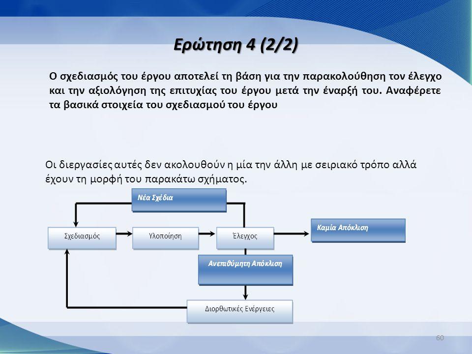 Ερώτηση 4 (2/2) 60 Ο σχεδιασμός του έργου αποτελεί τη βάση για την παρακολούθηση τον έλεγχο και την αξιολόγηση της επιτυχίας του έργου μετά την έναρξή