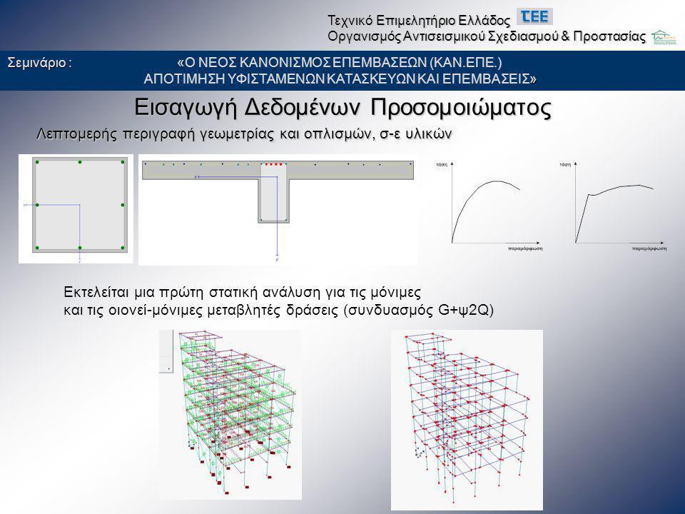 Εισαγωγή Δεδομένων Προσομοιώματος Λεπτομερής περιγραφή γεωμετρίας και οπλισμών, σ-ε υλικών Εκτελείται μια πρώτη στατική ανάλυση για τις μόνιμες και τι