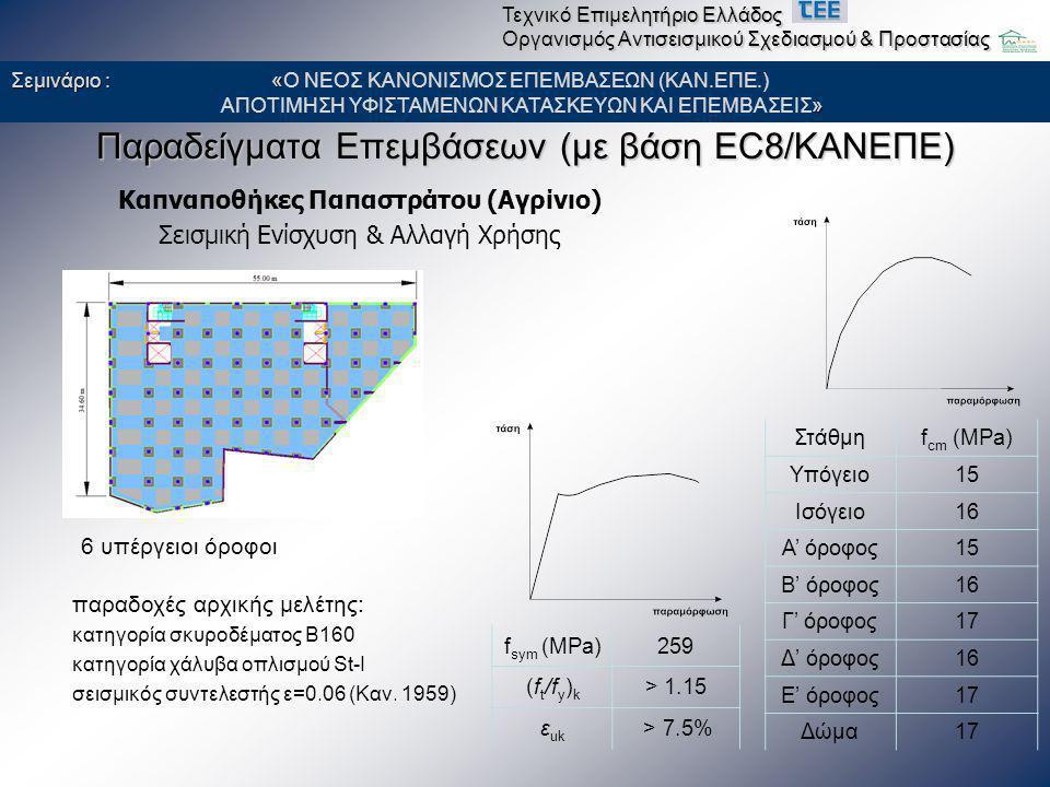 Παραδείγματα Επεμβάσεων (με βάση EC8/ΚΑΝΕΠΕ) Καπναποθήκες Παπαστράτου (Αγρίνιο) Σεισμική Ενίσχυση & Αλλαγή Χρήσης παραδοχές αρχικής μελέτης: κατηγορία