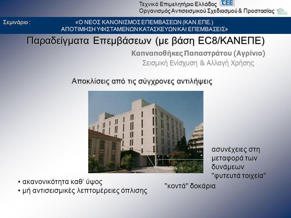 Παραδείγματα Επεμβάσεων (με βάση EC8/ΚΑΝΕΠΕ) Καπναποθήκες Παπαστράτου (Αγρίνιο) Σεισμική Ενίσχυση & Αλλαγή Χρήσης Αποκλίσεις από τις σύγχρονες αντιλήψ