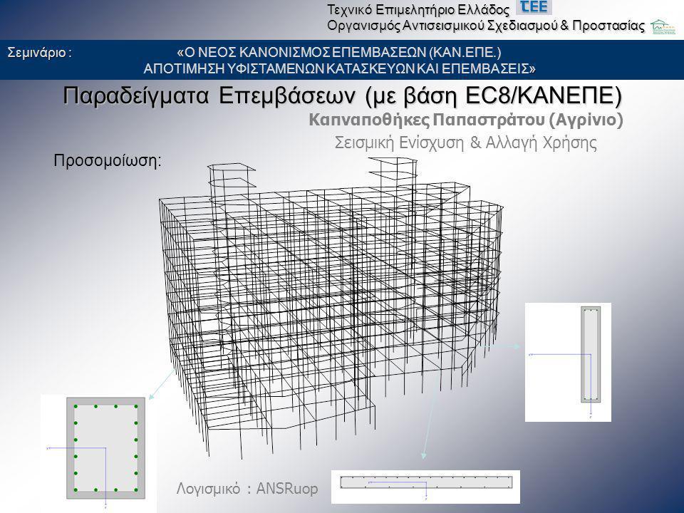 Καπναποθήκες Παπαστράτου (Αγρίνιο) Σεισμική Ενίσχυση & Αλλαγή Χρήσης Παραδείγματα Επεμβάσεων (με βάση EC8/ΚΑΝΕΠΕ) Προσομοίωση: Λογισμικό : ANSRuop Σεμ