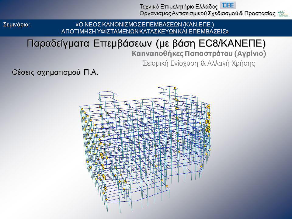 Παραδείγματα Επεμβάσεων (με βάση EC8/ΚΑΝΕΠΕ) Καπναποθήκες Παπαστράτου (Αγρίνιο) Σεισμική Ενίσχυση & Αλλαγή Χρήσης Θέσεις σχηματισμού Π.Α. Σεμινάριο :