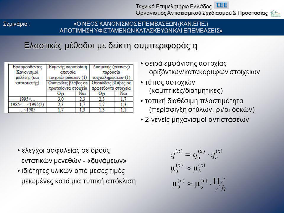 Ελαστικές μέθοδοι με δείκτη συμπεριφοράς q • έλεγχοι ασφαλείας σε όρους «δυνάμεων» εντατικών μεγεθών - «δυνάμεων» • ιδιότητες υλικών από μέσες τιμές μ