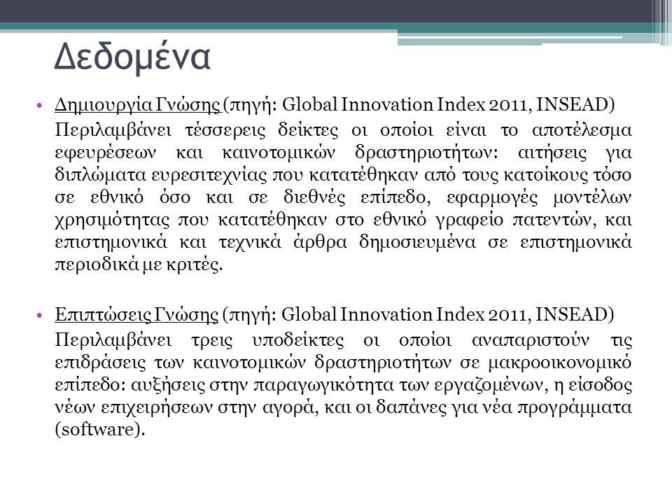 •Δημιουργία Γνώσης (πηγή: Global Innovation Index 2011, INSEAD) Περιλαμβάνει τέσσερεις δείκτες οι οποίοι είναι το αποτέλεσμα εφευρέσεων και καινοτομικ