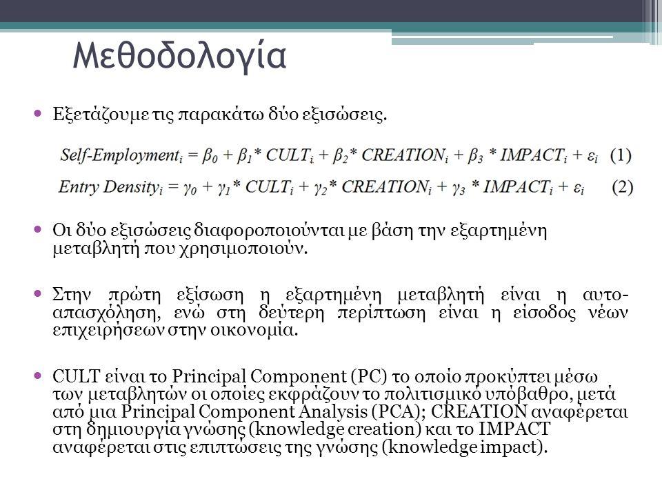 Μεθοδολογία  Εξετάζουμε τις παρακάτω δύο εξισώσεις.  Οι δύο εξισώσεις διαφοροποιούνται με βάση την εξαρτημένη μεταβλητή που χρησιμοποιούν.  Στην πρ