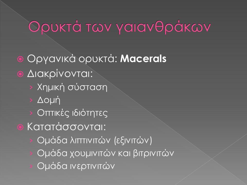  Οργανικά ορυκτά: Macerals  Διακρίνονται: › Χημική σύσταση › Δομή › Οπτικές ιδιότητες  Κατατάσσονται: › Ομάδα λιπτινιτών (εξινιτών) › Ομάδα χουμινι