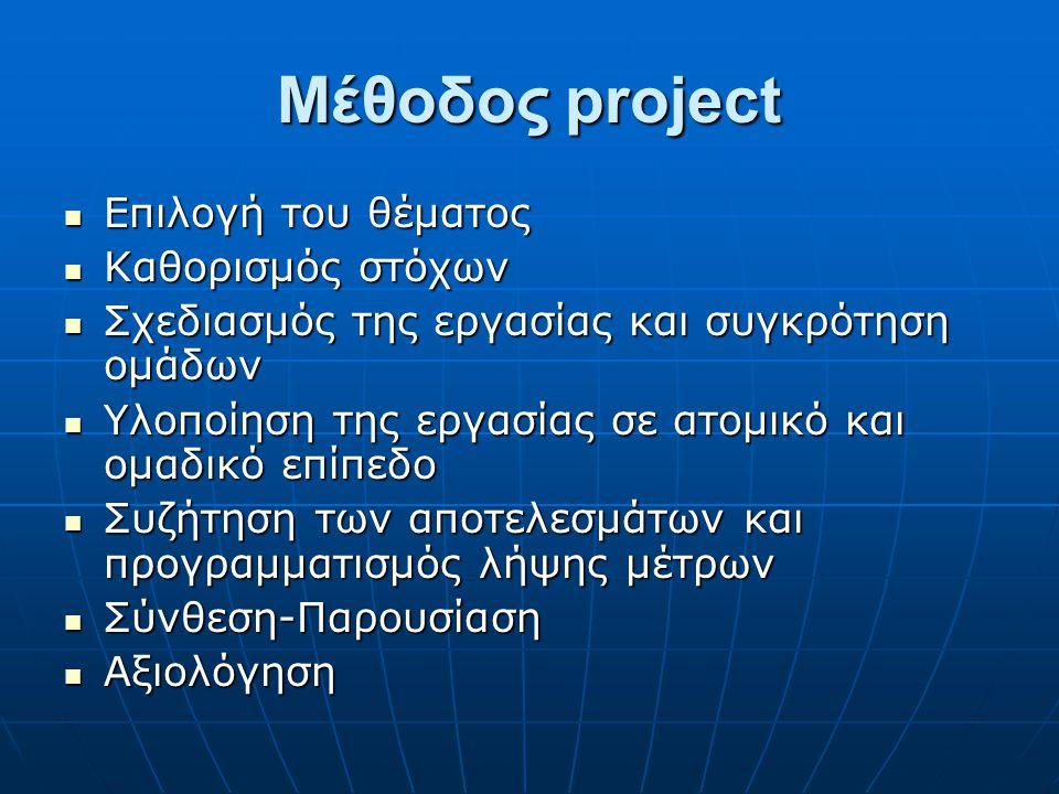 Μέθοδος project  Επιλογή του θέματος  Καθορισμός στόχων  Σχεδιασμός της εργασίας και συγκρότηση ομάδων  Υλοποίηση της εργασίας σε ατομικό και ομαδ