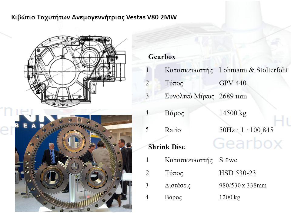 Κιβώτιο Ταχυτήτων Ανεμογεννήτριας Vestas V80 2MW Gearbox 1ΚατασκευαστήςLohmann & Stolterfoht 2ΤύποςGPV 440 3Συνολικό Μήκος2689 mm 4 Βάρος14500 kg 5 Ra