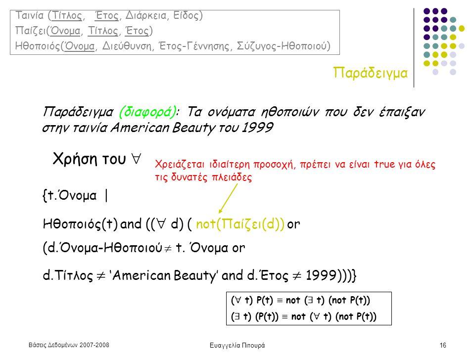 Βάσεις Δεδομένων 2007-2008 Ευαγγελία Πιτουρά16 Παράδειγμα Παράδειγμα (διαφορά): Τα ονόματα ηθοποιών που δεν έπαιξαν στην ταινία American Beauty του 1999 Χρήση του  {t.Όνομα | Ηθοποιός(t) and ((  d) ( not(Παίζει(d)) or (d.Όνομα-Ηθοποιού  t.