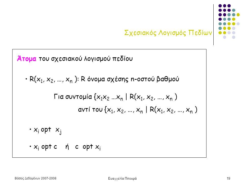 Βάσεις Δεδομένων 2007-2008 Ευαγγελία Πιτουρά19 Σχεσιακός Λογισμός Πεδίων Άτομα του σχεσιακού λογισμού πεδίου • R(x 1, x 2, …, x n ): R όνομα σχέσης n-οστού βαθμού • x i opt x j • x i opt c ή c opt x i Για συντομία {x 1 x 2 …x n | R(x 1, x 2, …, x n ) αντί του {x 1, x 2, …, x n | R(x 1, x 2, …, x n )
