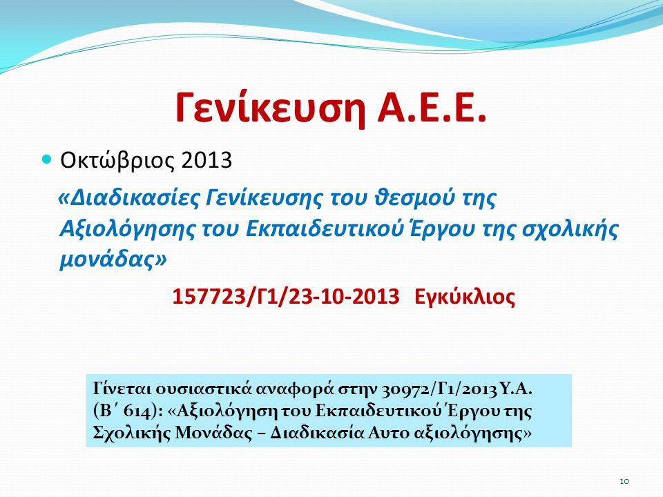 Γενίκευση Α.Ε.Ε.  Οκτώβριος 2013 «Διαδικασίες Γενίκευσης του θεσμού της Αξιολόγησης του Εκπαιδευτικού Έργου της σχολικής μονάδας» 157723/Γ1/23-10-201