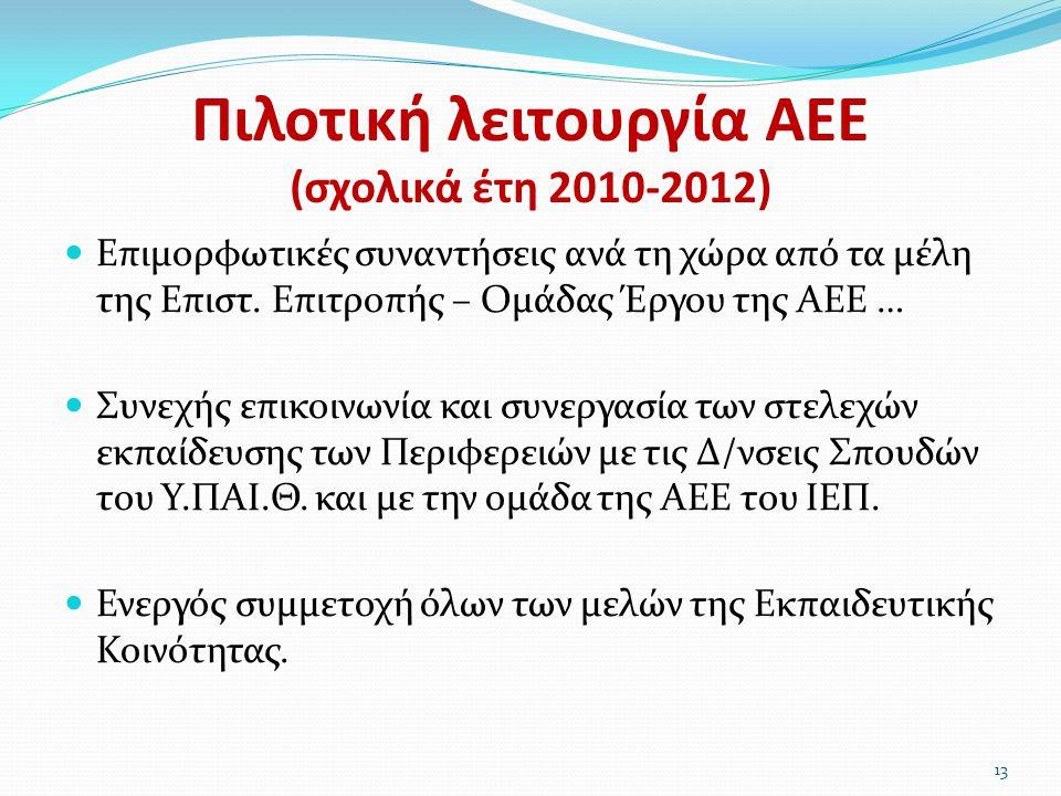 Πιλοτική λειτουργία ΑΕΕ (σχολικά έτη 2010-2012)  Επιμορφωτικές συναντήσεις ανά τη χώρα από τα μέλη της Επιστ. Επιτροπής – Ομάδας Έργου της ΑΕΕ …  Συ