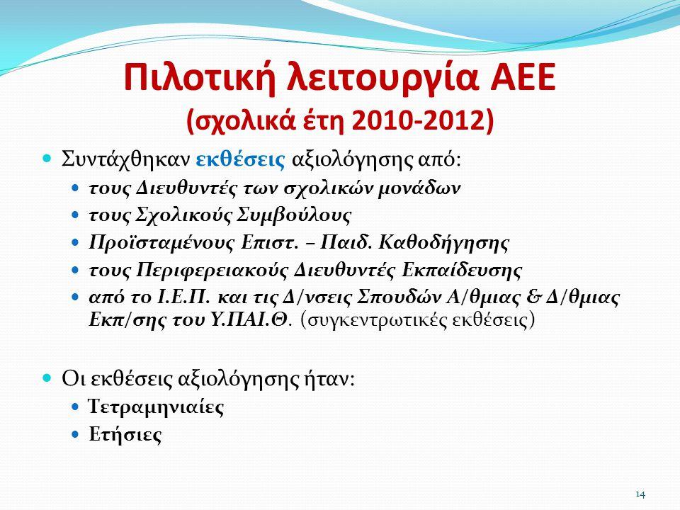 Πιλοτική λειτουργία ΑΕΕ (σχολικά έτη 2010-2012)  Συντάχθηκαν εκθέσεις αξιολόγησης από:  τους Διευθυντές των σχολικών μονάδων  τους Σχολικούς Συμβού