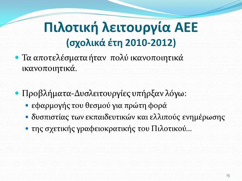 Πιλοτική λειτουργία ΑΕΕ (σχολικά έτη 2010-2012)  Τα αποτελέσματα ήταν πολύ ικανοποιητικά ικανοποιητικά.  Προβλήματα-Δυσλειτουργίες υπήρξαν λόγω:  ε
