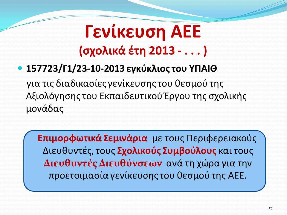 Γενίκευση ΑΕΕ (σχολικά έτη 2013 -... )  157723/Γ1/23-10-2013 εγκύκλιος του ΥΠΑΙΘ για τις διαδικασίες γενίκευσης του θεσμού της Αξιολόγησης του Εκπαιδ