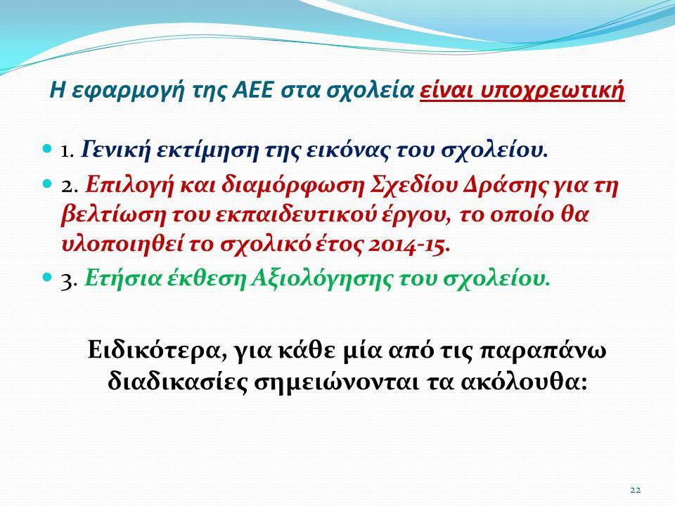 Η εφαρμογή της ΑΕΕ στα σχολεία είναι υποχρεωτική  1. Γενική εκτίμηση της εικόνας του σχολείου.  2. Επιλογή και διαμόρφωση Σχεδίου Δράσης για τη βελτ