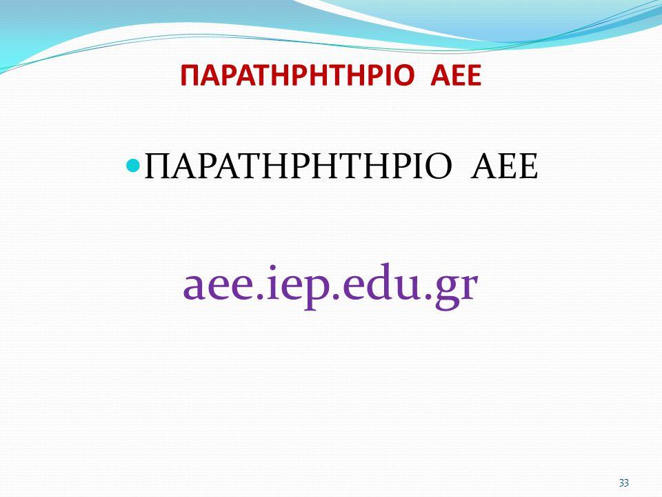 ΠΑΡΑΤΗΡΗΤΗΡΙΟ ΑΕΕ  ΠΑΡΑΤΗΡΗΤΗΡΙΟ ΑΕΕ aee.iep.edu.gr 33