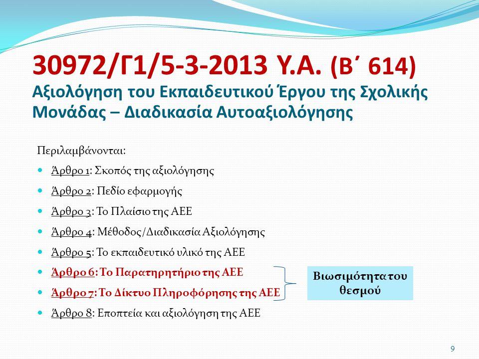 Περιλαμβάνονται:  Άρθρο 1: Σκοπός της αξιολόγησης  Άρθρο 2: Πεδίο εφαρμογής  Άρθρο 3: Το Πλαίσιο της ΑΕΕ  Άρθρο 4: Μέθοδος/Διαδικασία Αξιολόγησης