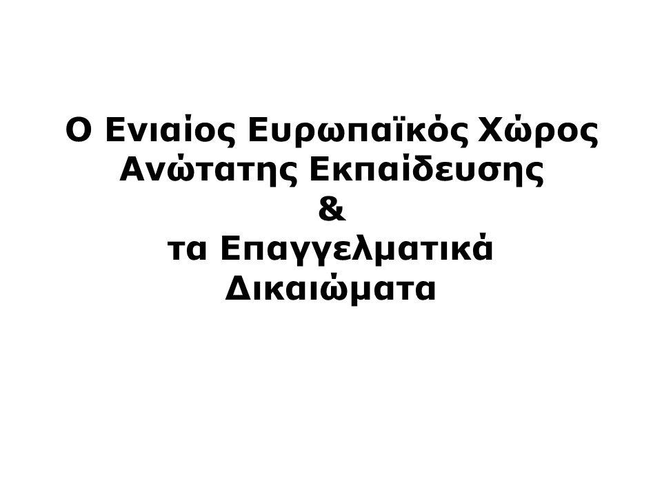 Ο Ενιαίος Ευρωπαϊκός Χώρος Ανώτατης Εκπαίδευσης & τα Επαγγελματικά Δικαιώματα
