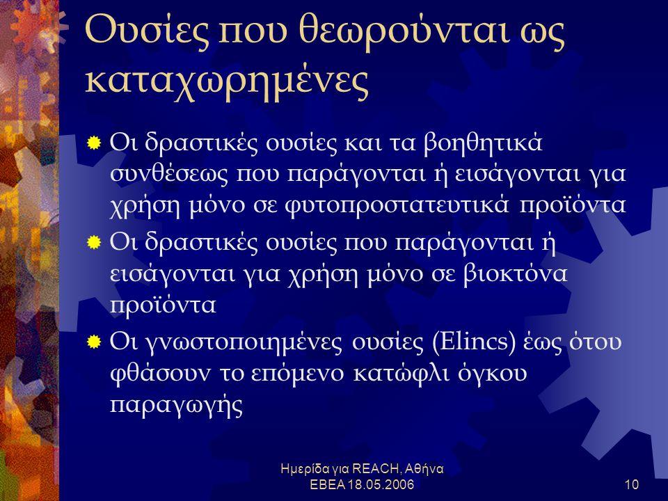 Ημερίδα για REACH, Αθήνα ΕΒΕΑ 18.05.200610 Ουσίες που θεωρούνται ως καταχωρημένες  Οι δραστικές ουσίες και τα βοηθητικά συνθέσεως που παράγονται ή εισάγονται για χρήση μόνο σε φυτοπροστατευτικά προϊόντα  Οι δραστικές ουσίες που παράγονται ή εισάγονται για χρήση μόνο σε βιοκτόνα προϊόντα  Οι γνωστοποιημένες ουσίες (Elincs) έως ότου φθάσουν το επόμενο κατώφλι όγκου παραγωγής