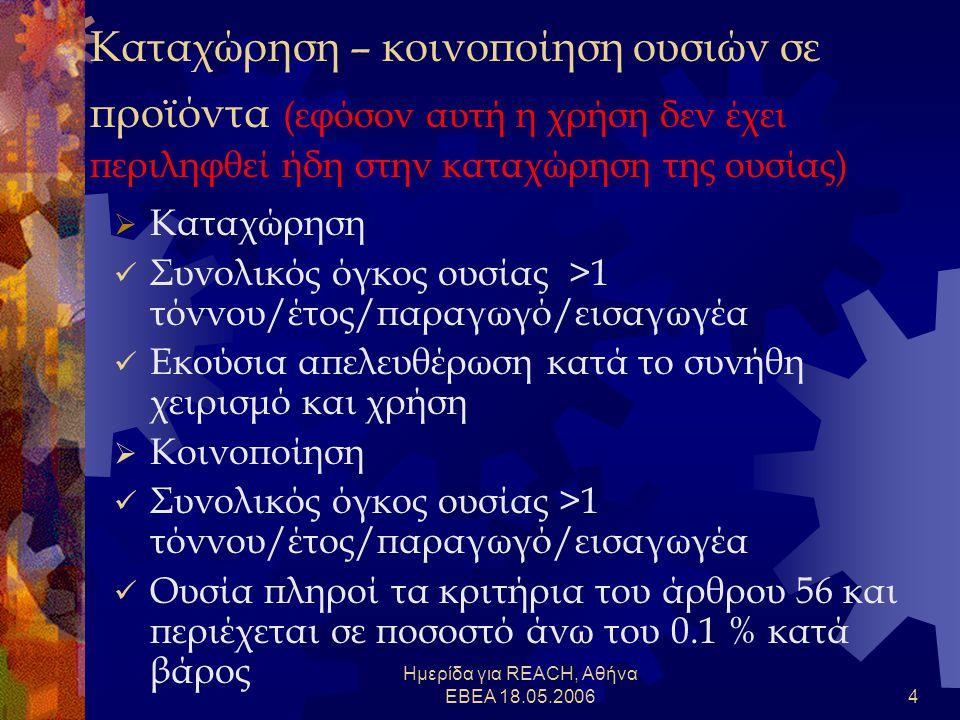 Ημερίδα για REACH, Αθήνα ΕΒΕΑ 18.05.20064 Καταχώρηση – κοινοποίηση ουσιών σε προϊόντα (εφόσον αυτή η χρήση δεν έχει περιληφθεί ήδη στην καταχώρηση της ουσίας)  Καταχώρηση  Συνολικός όγκος ουσίας >1 τόννου/έτος/παραγωγό/εισαγωγέα  Εκούσια απελευθέρωση κατά το συνήθη χειρισμό και χρήση  Κοινοποίηση  Συνολικός όγκος ουσίας >1 τόννου/έτος/παραγωγό/εισαγωγέα  Ουσία πληροί τα κριτήρια του άρθρου 56 και περιέχεται σε ποσοστό άνω του 0.1 % κατά βάρος