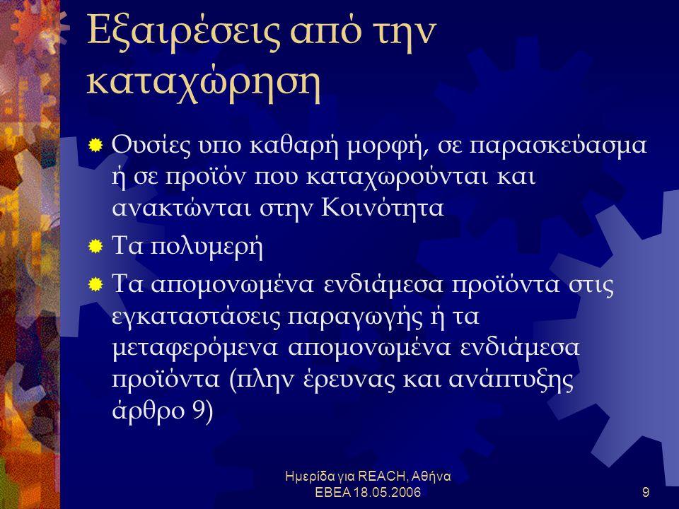 Ημερίδα για REACH, Αθήνα ΕΒΕΑ 18.05.20069 Εξαιρέσεις από την καταχώρηση  Ουσίες υπο καθαρή μορφή, σε παρασκεύασμα ή σε προϊόν που καταχωρούνται και ανακτώνται στην Κοινότητα  Τα πολυμερή  Τα απομονωμένα ενδιάμεσα προϊόντα στις εγκαταστάσεις παραγωγής ή τα μεταφερόμενα απομονωμένα ενδιάμεσα προϊόντα (πλην έρευνας και ανάπτυξης άρθρο 9)