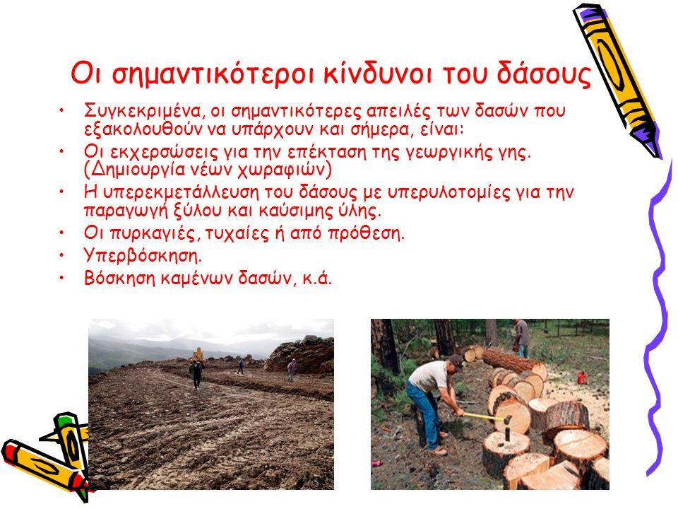 Οι σημαντικότεροι κίνδυνοι του δάσους •Συγκεκριμένα, οι σημαντικότερες απειλές των δασών που εξακολουθούν να υπάρχουν και σήμερα, είναι: •Οι εκχερσώσε