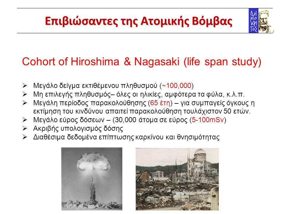 Επιβιώσαντες της Ατομικής Βόμβας Cohort of Hiroshima & Nagasaki (life span study)  Μεγάλο δείγμα εκτιθέμενου πληθυσμού (~100,000)  Μη επιλεγής πληθυ