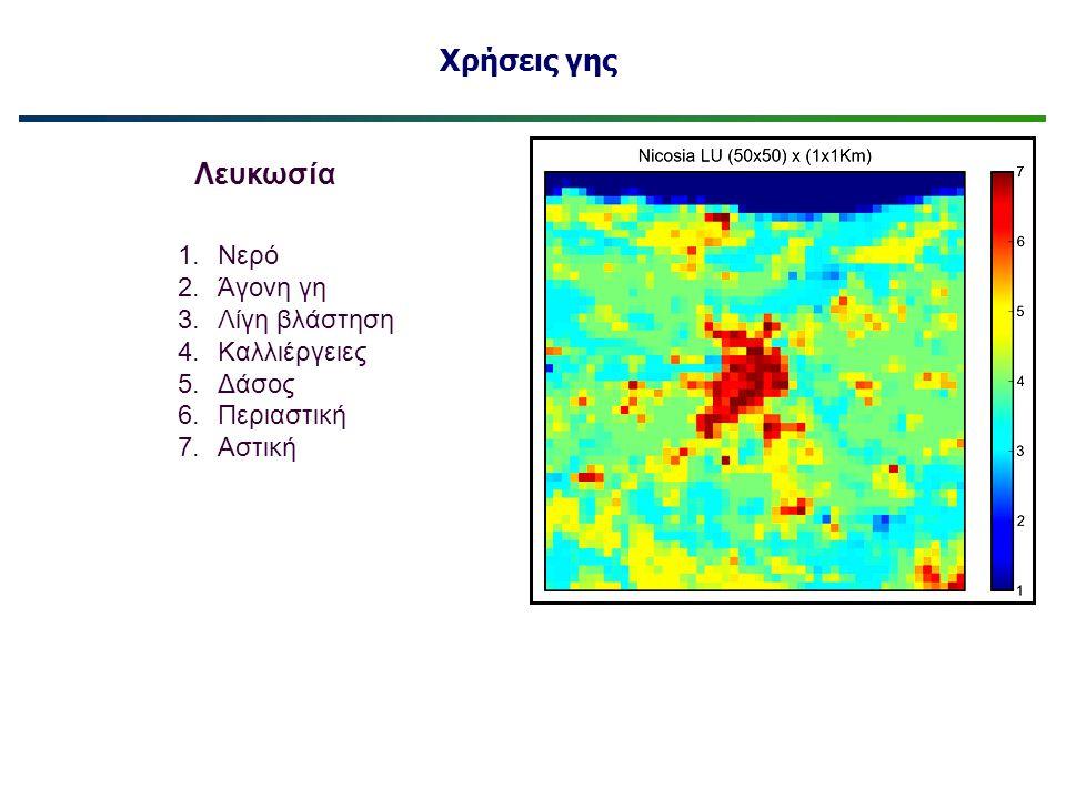 Χρήσεις γης 1.Νερό 2.Άγονη γη 3.Λίγη βλάστηση 4.Καλλιέργειες 5.Δάσος 6.Περιαστική 7.Αστική Λευκωσία