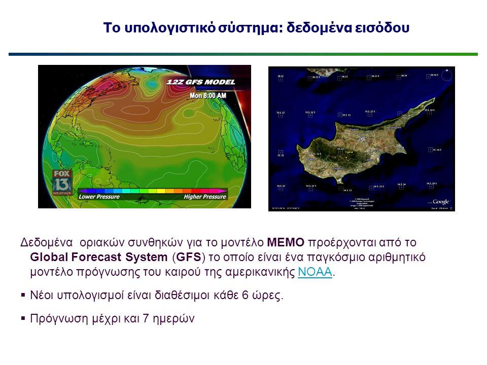 Το υπολογιστικό σύστημα: δεδομένα εισόδου Δεδομένα οριακών συνθηκών για το μοντέλο ΜΕΜΟ προέρχονται από το Global Forecast System (GFS) το οποίο είναι