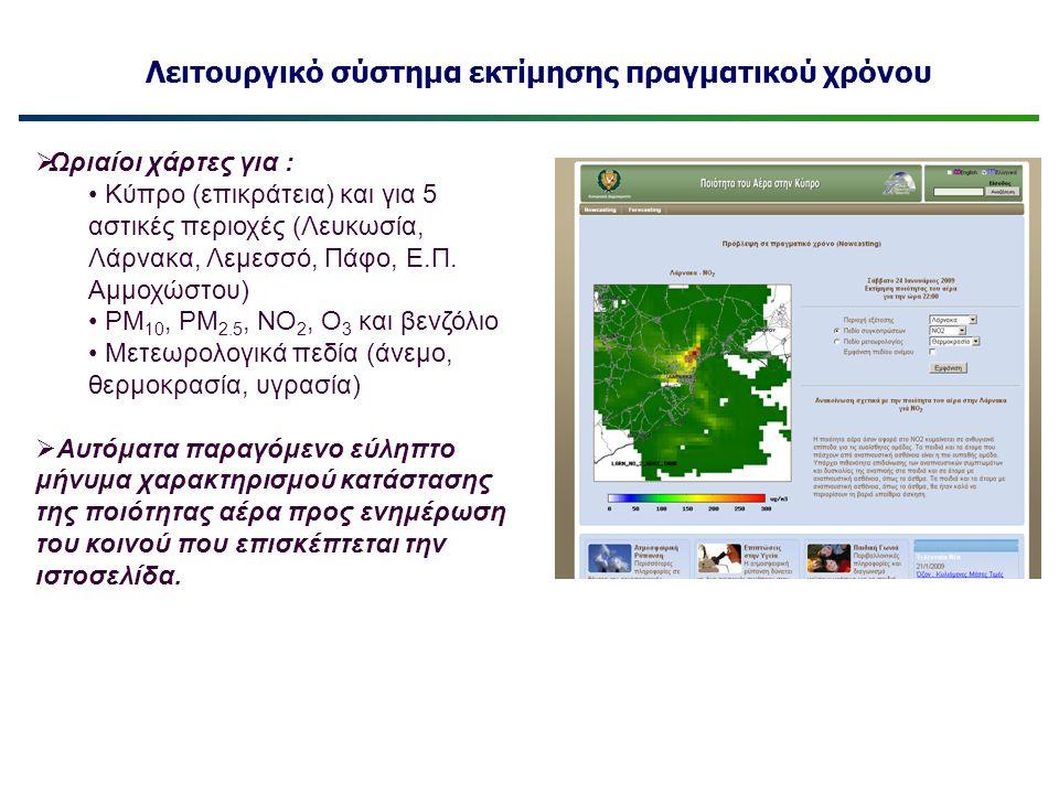 Λειτουργικό σύστημα εκτίμησης πραγματικού χρόνου  Ωριαίοι χάρτες για : • Κύπρο (επικράτεια) και για 5 αστικές περιοχές (Λευκωσία, Λάρνακα, Λεμεσσό, Π