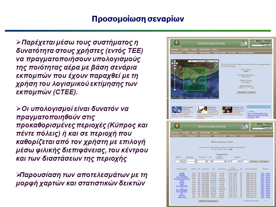 Προσομοίωση σεναρίων  Παρέχεται μέσω τους συστήματος η δυνατότητα στους χρήστες (εντός ΤΕΕ) να πραγματοποιήσουν υπολογισμούς της ποιότητας αέρα με βά