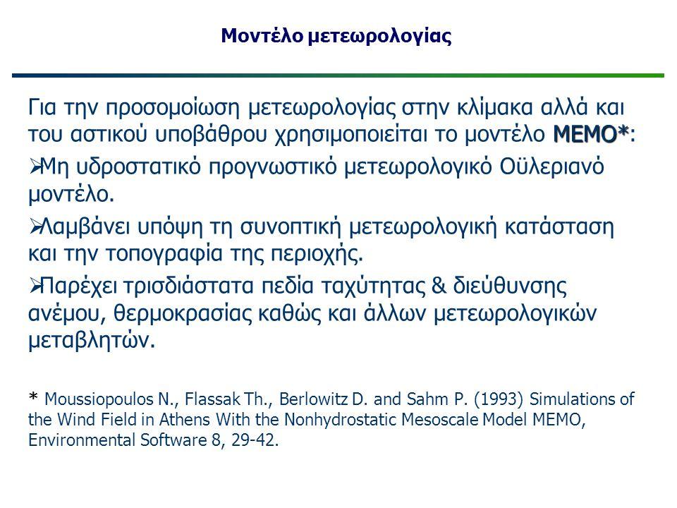 ΜΕΜΟ* Για την προσομοίωση μετεωρολογίας στην κλίμακα αλλά και του αστικού υποβάθρου χρησιμοποιείται το μοντέλο ΜΕΜΟ*:  Μη υδροστατικό προγνωστικό μετ