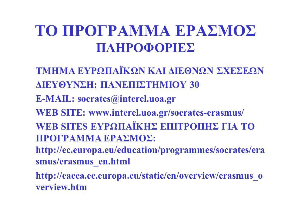 ΤΟ ΠΡΟΓΡΑΜΜΑ ΕΡΑΣΜΟΣ ΠΛΗΡΟΦΟΡΙΕΣ ΤΜΗΜΑ ΕΥΡΩΠΑΪΚΩΝ ΚΑΙ ΔΙΕΘΝΩΝ ΣΧΕΣΕΩΝ ΔΙΕΥΘΥΝΣΗ: ΠΑΝΕΠΙΣΤΗΜΙΟΥ 30 E-MAIL: socrates@interel.uoa.gr WEB SITE: www.interel.uoa.gr/socrates-erasmus/ WEB SITES ΕΥΡΩΠΑΪΚΗΣ ΕΠΙΤΡΟΠΗΣ ΓΙΑ ΤΟ ΠΡΟΓΡΑΜΜΑ ΕΡΑΣΜΟΣ: http://ec.europa.eu/education/programmes/socrates/era smus/erasmus_en.html http://eacea.ec.europa.eu/static/en/overview/erasmus_o verview.htm