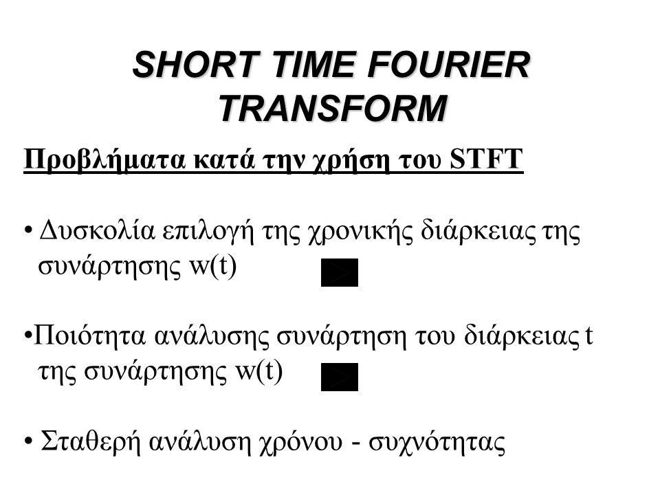 Προβλήματα κατά την χρήση του STFT • Δυσκολία επιλογή της χρονικής διάρκειας της συνάρτησης w(t) •Ποιότητα ανάλυσης συνάρτηση του διάρκειας t της συνά