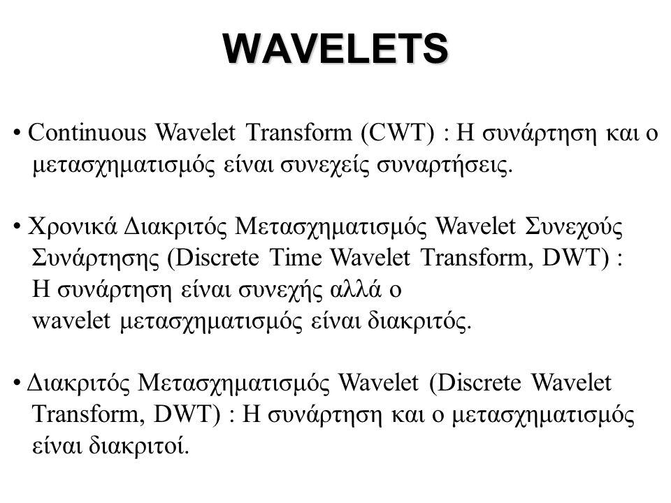 WAVELETS • Continuous Wavelet Transform (CWT) : H συνάρτηση και ο μετασχηματισμός είναι συνεχείς συναρτήσεις. • Χρονικά Διακριτός Μετασχηματισμός Wave