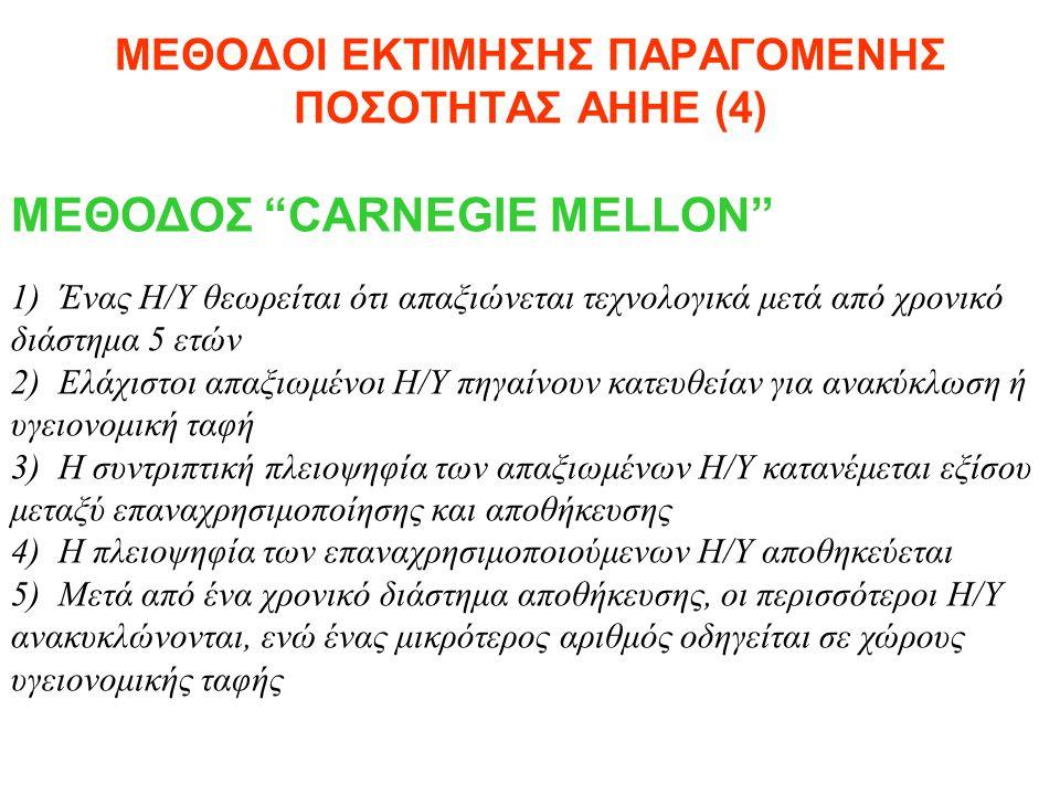 """ΜΕΘΟΔΟΙ ΕΚΤΙΜΗΣΗΣ ΠΑΡΑΓΟΜΕΝΗΣ ΠΟΣΟΤΗΤΑΣ ΑΗΗΕ (4) ΜΕΘΟΔΟΣ """"CARNEGIE MELLON"""" 1) Ένας Η/Υ θεωρείται ότι απαξιώνεται τεχνολογικά μετά από χρονικό διάστημα"""