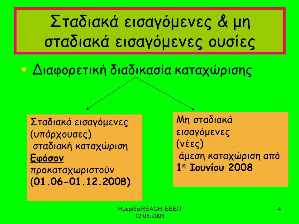 Ημερίδα REACH, ΕΒΕΠ 12.05.2008 4 Σταδιακά εισαγόμενες & μη σταδιακά εισαγόμενες ουσίες  Διαφορετική διαδικασία καταχώρισης Σταδιακά εισαγόμενες (υπάρχουσες) σταδιακή καταχώριση Εφόσον προκαταχωριστούν (01.06-01.12.2008) Μη σταδιακά εισαγόμενες (νέες) άμεση καταχώριση από 1 η Ιουνίου 2008