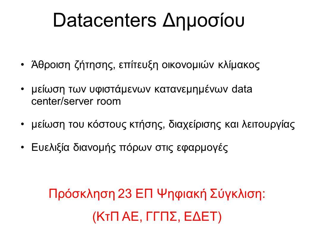 Mνημόνιο G-Cloud/Datacenter Facilities Φορείς: •Γενική Γραμματεία Πληροφοριακών Συστημάτων •Γενική Γραμματεία Έρευνας Τεχνολογίας •Γενική Γραμματεία Κοινωνικής Ασφάλισης •Ειδική Γραμματεία Διοικητικής Μεταρρύθμισης •Ειδική Γραμματεία Ψηφιακού Σχεδιασμού •Κοινωνία της Πληροφορίας ΑΕ •Ανώτατο Συμβούλιο Επιλογής Προσωπικού •Ηλεκτρονική Διακυβέρνηση Κοινωνικής Ασφάλισης ΑΕ •Κτηματολόγιο ΑΕ •ΜΟΔ ΑΕ •Εθνικό Δίκτυο Έρευνας και Τεχνολογίας ΑΕ υπογραφή 14/9/2010
