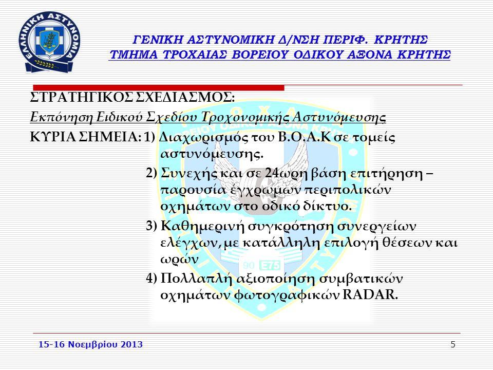 ΣΤΡΑΤΗΓΙΚΟΣ ΣΧΕΔΙΑΣΜΟΣ: Εκπόνηση Ειδικού Σχεδίου Τροχονομικής Αστυνόμευσης ΚΥΡΙΑ ΣΗΜΕΙΑ: 1) Διαχωρισμός του Β.Ο.Α.Κ σε τομείς αστυνόμευσης. 2) Συνεχής