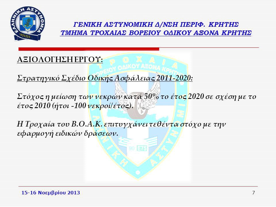 7 15-16 Νοεμβρίου 2013 ΑΞΙΟΛΟΓΗΣΗ ΕΡΓΟΥ: Στρατηγικό Σχέδιο Οδικής Ασφάλειας 2011-2020: Στόχος η μείωση των νεκρών κατά 50% το έτος 2020 σε σχέση με το