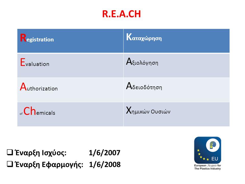 R.E.A.CH  Έναρξη Ισχύος: 1/6/2007  Έναρξη Εφαρμογής: 1/6/2008 R egistration Κ αταχώρηση E valuation Α ξιολόγηση A uthorization Α δειοδότηση of Ch em