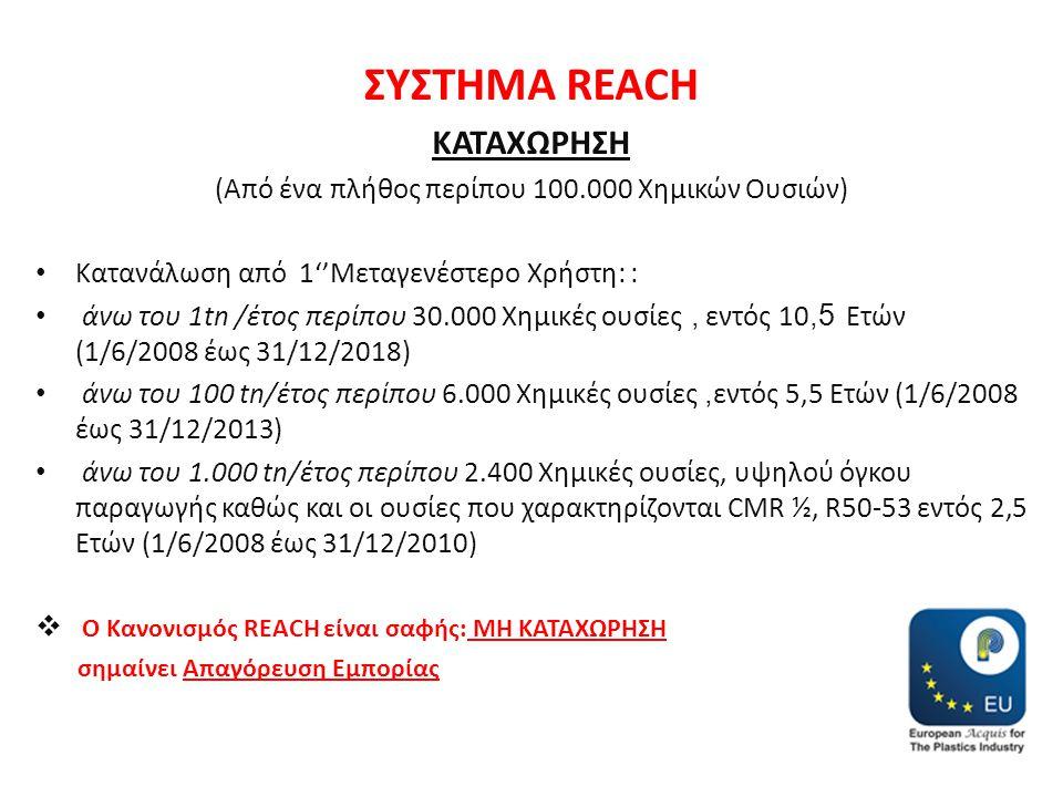 ΣΥΣΤΗΜΑ REACH ΚΑΤΑΧΩΡΗΣΗ (Από ένα πλήθος περίπου 100.000 Χημικών Ουσιών) • Κατανάλωση από 1''Μεταγενέστερο Χρήστη: : • άνω του 1tn /έτος περίπου 30.00