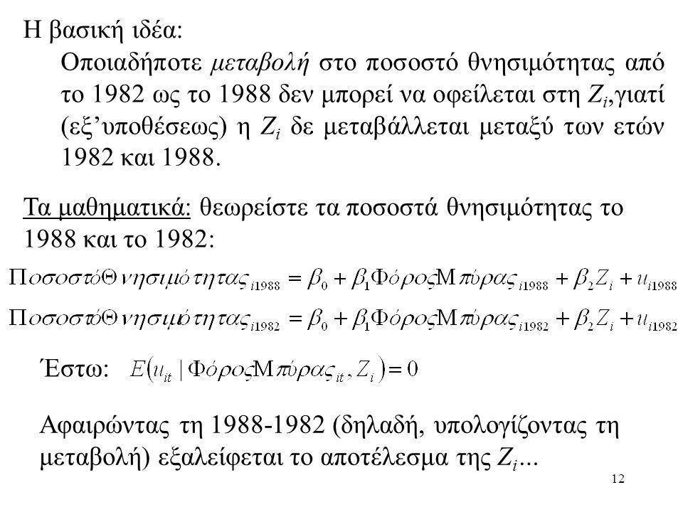 12 Η βασική ιδέα: Οποιαδήποτε μεταβολή στο ποσοστό θνησιμότητας από το 1982 ως το 1988 δεν μπορεί να οφείλεται στη Ζ i,γιατί (εξ'υποθέσεως) η Ζ i δε μ