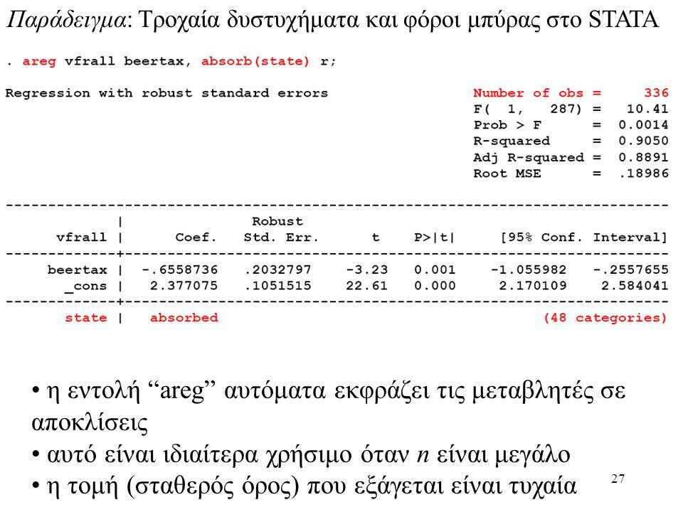 """27 Παράδειγμα: Τροχαία δυστυχήματα και φόροι μπύρας στο STATA • η εντολή """"areg"""" αυτόματα εκφράζει τις μεταβλητές σε αποκλίσεις • αυτό είναι ιδιαίτερα"""
