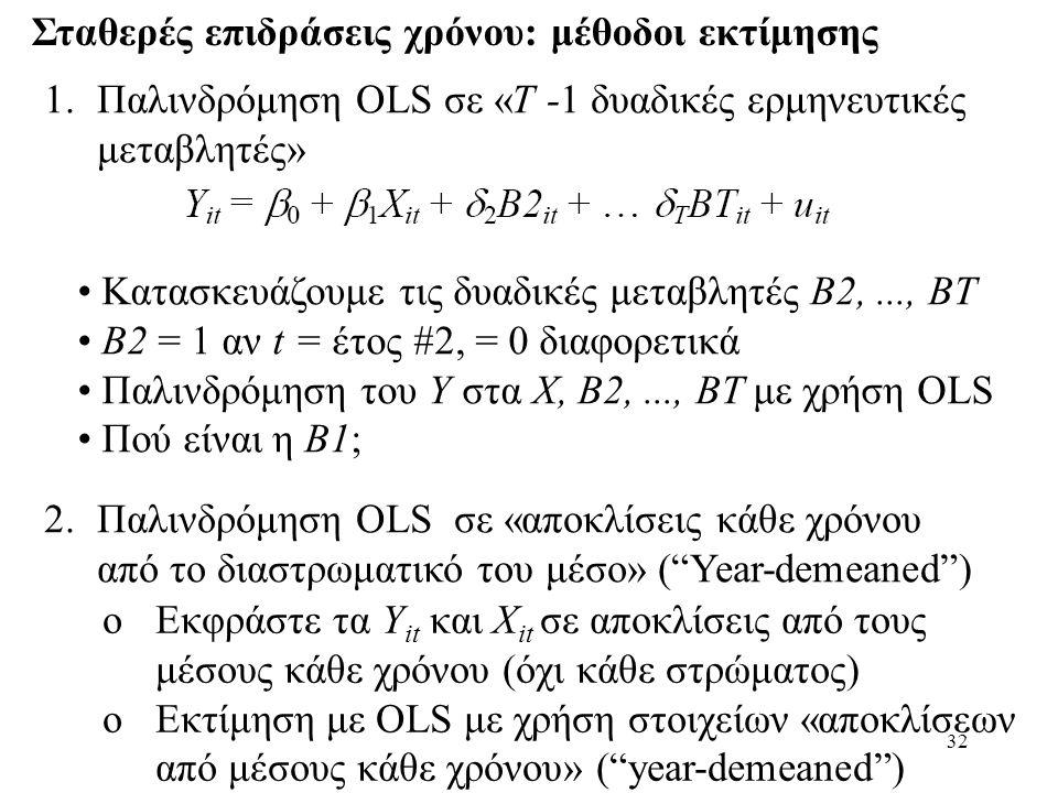 32 Σταθερές επιδράσεις χρόνου: μέθοδοι εκτίμησης 1.Παλινδρόμηση OLS σε «T -1 δυαδικές ερμηνευτικές μεταβλητές» 2.Παλινδρόμηση OLS σε «αποκλίσεις κάθε