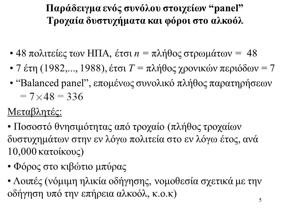 """5 Παράδειγμα ενός συνόλου στοιχείων """"panel"""" Tροχαία δυστυχήματα και φόροι στο αλκοόλ • 48 πολιτείες των ΗΠΑ, έτσι n = πλήθος στρωμάτων = 48 • 7 έτη (1"""